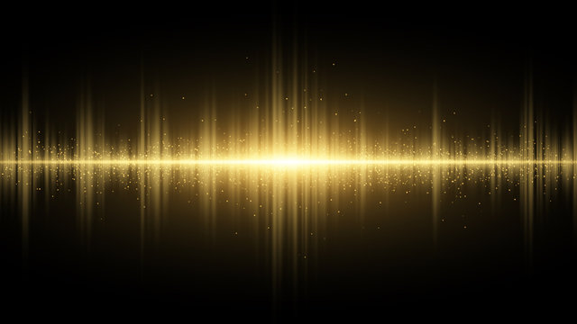 Sound waves of light golden on a dark background. Light effect. Background for the radio, club, party. Vibration of light. Bright flash of light with luminous dust. Vector illustration