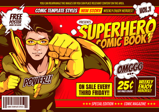 Superhero comic cover template background, flyer brochure speech bubbles, doodle art, Vector illustration, you can place relevant content on the area.