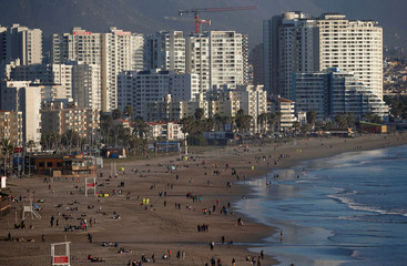 A view of the beach of the city at La Serena