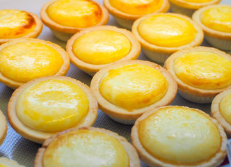 Dessert Japanese egg tarts sweet custard pie. Homemade sweet delicious dessert egg tarts.