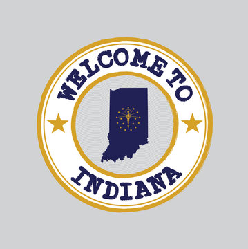 Vector Stamp of welcome to Indiana with states flag on map outline in the center.
