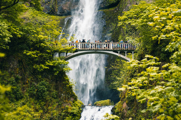 Multnomah Falls is the most visited natural recreation site in the Pacific Northwest, Columbia River Gorge National Scenic Area, Oregon, United States of America, Travel USA