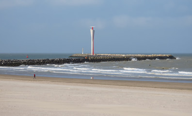 Ostend beach, waterfront and radar tower at the end of the pier, North Sea coast, Flanders, Belgium, Europe