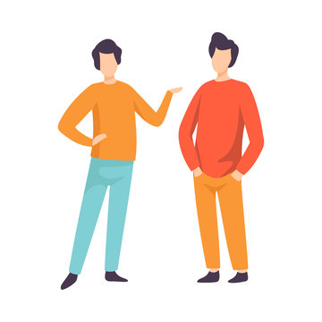 Two Young Men Dressed in Casual Clothing Standing and Talking, People Speaking to Each Other Vector Illustration