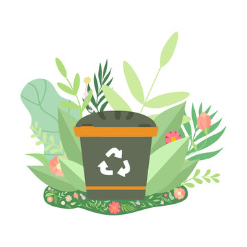 Green Recycle Bin Surrounded by Grass and Flowers, Environmental Protection, Ecology Concept Vector Illustration