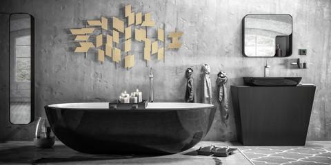 Bathroom Furniture & Decor Presentation (B&W) - 3d visualization