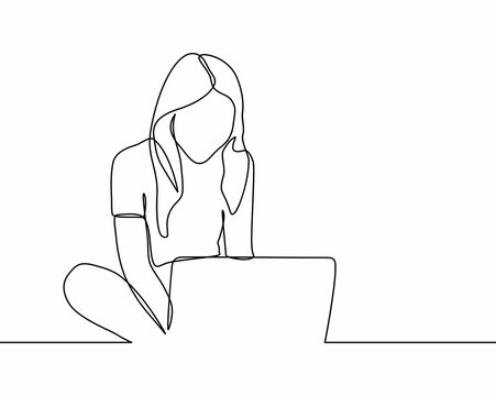 continuous line drawing of woman is playing a laptop. Teen browsing a laptop searching information online. vector illustration isolated on white background