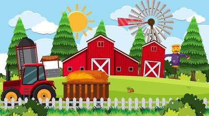 Tractor on farm scene
