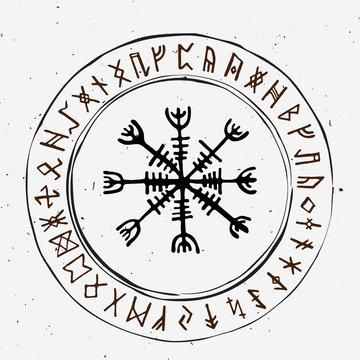 Futhark norse islandic and viking runes set. Magic hand draw symbols as scripted talismans. Vector set of ancient runes of Iceland. Galdrastafir, mystic signs of early North magic. Ethnic norse viking