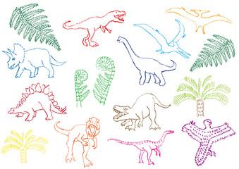 恐竜のクレヨン画
