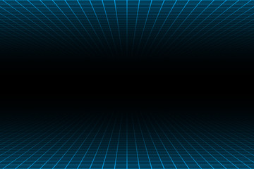 One point perspective blue light over and under grid on dark background, copy space composition, retro technology concept. Wall mural