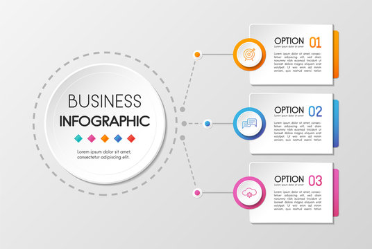 Circle infographic with 3 options. Vector
