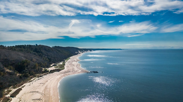 Drone scenic panoramic view of the Reeves Beach with the  Roanoke Barges shipwreck in Riverhead Long Island New York