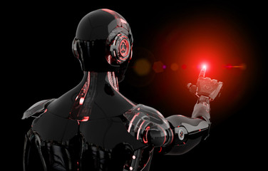 Black and red intelligent robot cyborg pointing finger on dark 3D rendering