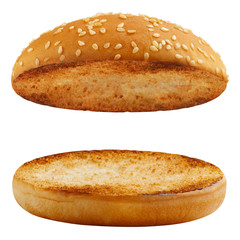 Delicious burger buns, isolated on white background