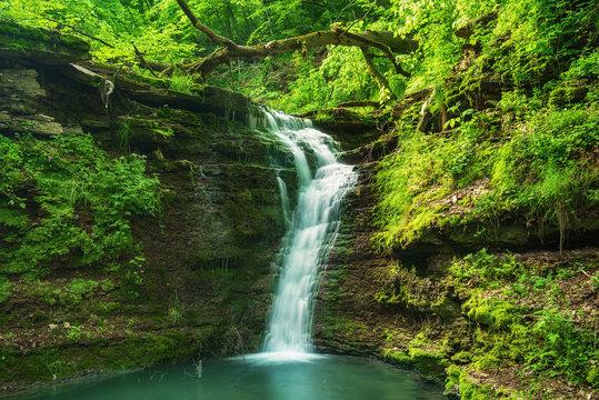 High mountain waterfall