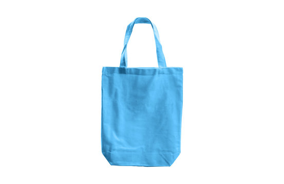 light blue cloth bag isolated on white background with clipping path