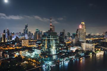Cityscape downtown. Night city urban skyline Bangkok, Thailand.