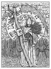 Scythe. Black and white mystic concept for Lenormand oracle tarot card
