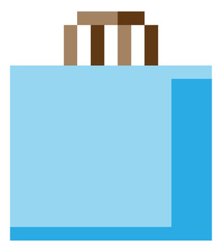 Shopping bag 8 bit icon in a pixel 8 bit video game art style