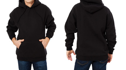 Middle age man in black sweatshirt template isolated. Male sweatshirts set with mockup and copy space. Sweat shirt design front and back view. Closeup Fototapete