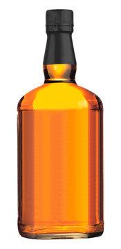 wisky bottle on white background