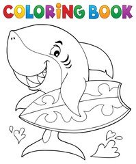 Acrylic Prints For Kids Coloring book surfer shark theme 1