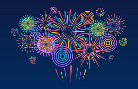 Fireworks background. Vector