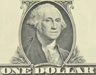 Fragment of a banknote with the image of the President of the United States of America, George Washington