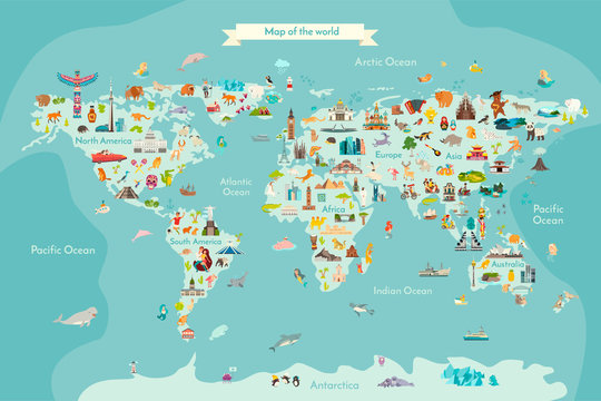 Landmarks world map vector cartoon illustration. World vector poster for children, cute illustrated
