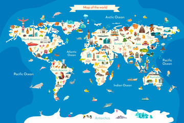 Fototapete - Animals world landmarks map for kid. World vector poster for children, cute illustrated. Cartoon globe with animals. Oceans and continent: South America, Eurasia, North America, Africa, Australia