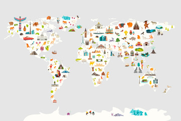Fototapete - Landmarks world map vector cartoon illustration. Cartoon globe vector illustration. Oceans and continent: South America, Eurasia, North America, Africa, Australia