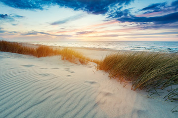 Grassy dunes and the Baltic sea at sunset