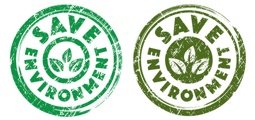 Save environment stamps in green and dark green colors. Grunge texture. Vector illustration.