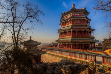 The Summer Palace in Beijing with blue sky