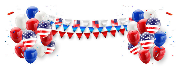 Labor day card design American flag balloons background. Sale Vector illustration.