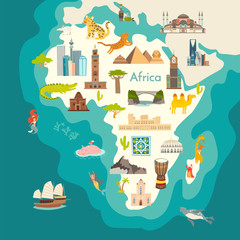 Fototapete - Animals world map, Africa. Africa continent with landmarks vector cartoon illustration. Poster, art, travel card