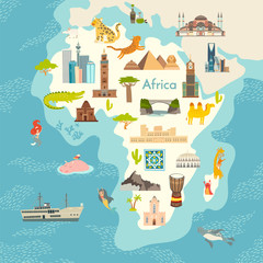 Fototapete - Africa continent, world map with landmarks vector cartoon illustration. Abstract African landmarks, animals, sign and icon cartoon style.  Poster, art, travel card