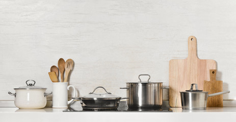 Kitchen utensils and stainless steel cookware