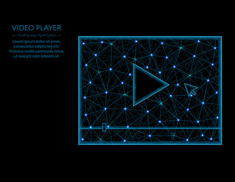 Video player low poly model, play button in polygonal style, multimedia wireframe vector illustration made from points and lines on a black background