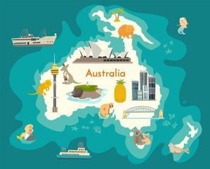 Wall Mural - Australia continent, world vector map with landmarks cartoon illustration