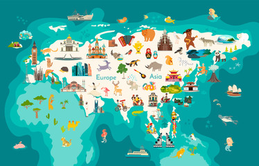 Eurasia continent, world map with landmarks vector cartoon illustration. Abstract Eurasian animals, Europe and Asia sign and icon cartoon style. Poster, art, travel card