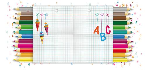 Einschulung Banner mit Buntstiften, Buchstaben und Schultüten