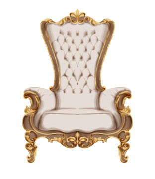 Baroque furniture Vector watercolor. Luxurious ornaments French Luxury rich intricate structure. Victorian Royal Style decors