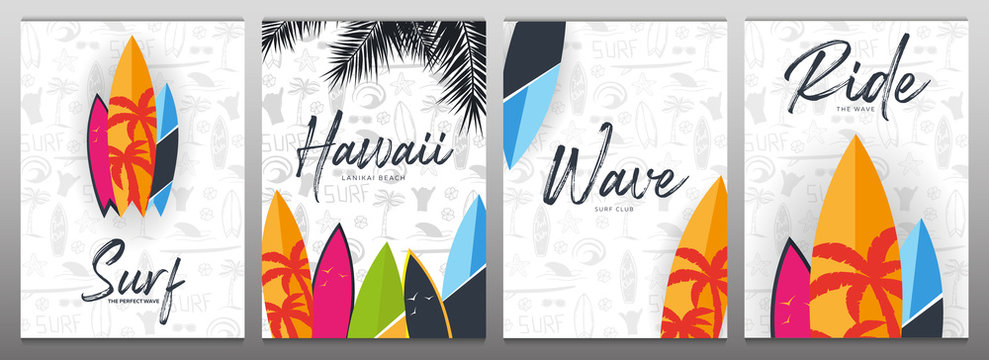 Set of Summer Surfing Posters for Surf Club or Shop with hand draw background and Surfboard.