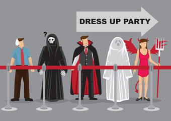 People in Fancy Costumes Waiting in Line for Dress Up Party Cartoon Vector Illustration