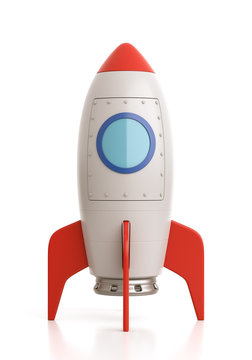 Cartoon Spaceship on White Background