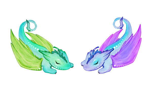 Two little sleepy dragons. Hand drawn watercolor illustration