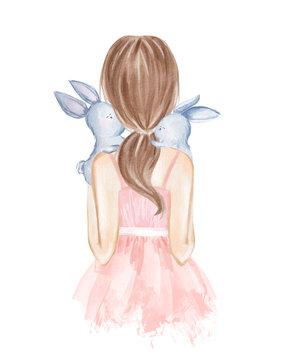 Girl holding little rabbits. Hand drawn watercolor illustration