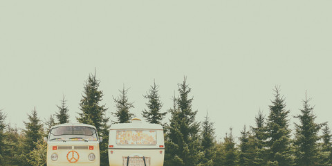 Vintage camper and caravan in a forest